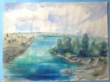 6v7:Impress. Aquarell Gemälde Landschaft Donau Wachau Österreich G. Weihmann ~44