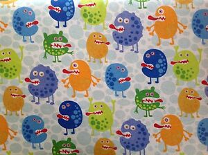 Flannel monsters quilting fabric childrens for Bright childrens fabric