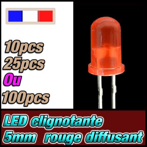 25 ou 100pcs 438D# LED 5mm clignotante ronde rouge diffusant dispo 10