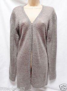 BNWT-NEXT-New-Ladies-Grey-lightweight-semi-sheer-Shimmer-longline-cardigan