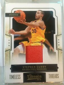 Stephen-Curry-2009-10-Classics-RC-Rookie-Patch-Timeless-Threads-265-Jersey-NBA