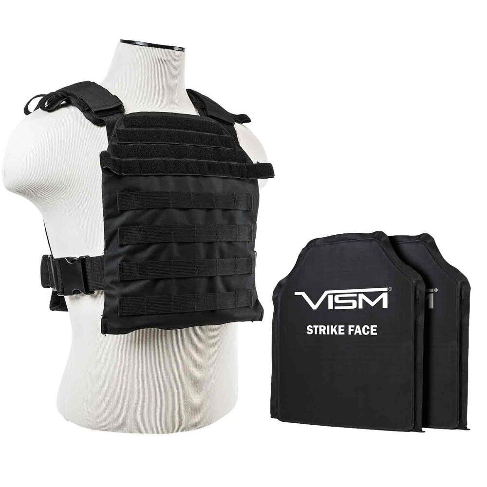 VISM BLK Fast Plate Carrier & 2 IIIA 10x12  Shooters Cut SOFT Balllistic Panels