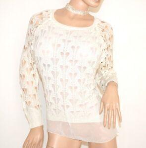 a lunghe donna Felpa lunghe F5 collo con maniche in Trui maglia a maniche da bianca girocollo 5qtWBtS