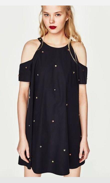 New Zara Trafaluc S Bead Embellished Cold Shoulder Poplin Mini Dress Navy bluee