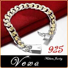 New Mens 925 Sterling Silver 10mm Gold Super Chunky Bracelet Link Chain UK BS21