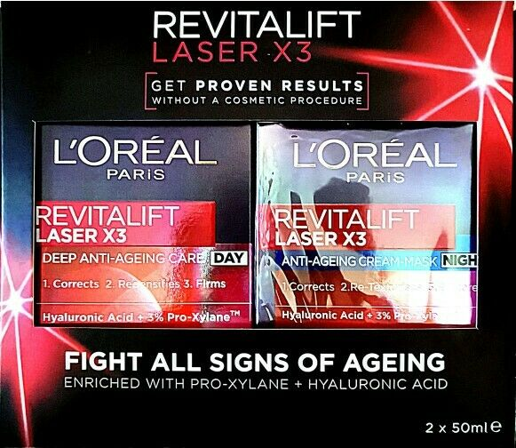 L'Oreal Paris Revitalift Laser X3 Day Cream 50ml + Night Cream 50ml Bundle Anti-
