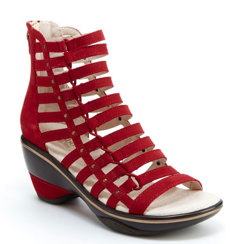 Jambu Jambu Jambu Brookline rojo intenso Ante Gladiador Sandalia Mujer Tallas 6-10 NEW  almacén al por mayor