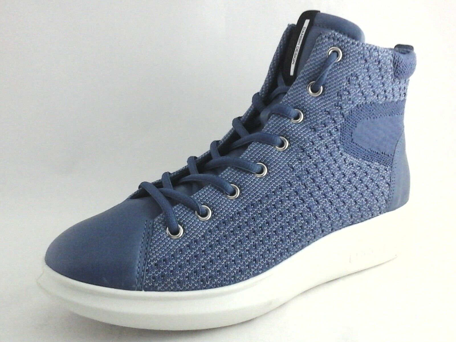 ECCO Danish Design bluee High Top shoes Knit Leather Women's US 8 8.5