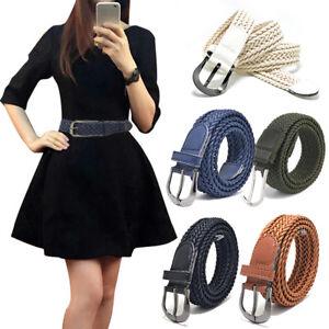 Mens-Women-Leather-Braided-Elastic-Stretch-Cross-Buckle-Golf-Belt-Waistband