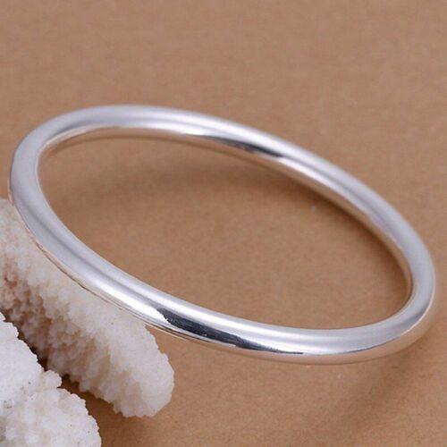 Classique Mince Simple Bracelet Jonc Argent Sterling 925 Plaqué femmes Bijoux NEUF