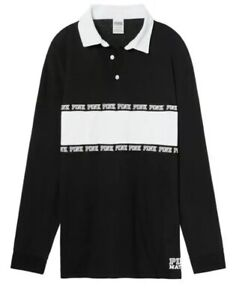 NWT-Victoria-039-s-Secret-PINK-Long-Sleeve-Rugby-Tee-Polo-Shirt-Black-And-White-S