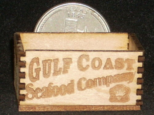 Dollhouse Miniature Gulf Coast Seafood Company Crate 1:12 Texas Store Fish