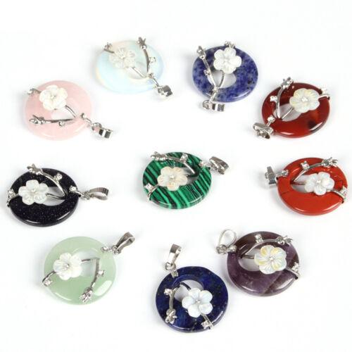Meilleur Cadeau Naturel Snowflake Obsidian Fleur Sculpté Coquille Gems ARGENT PENDENTIFS