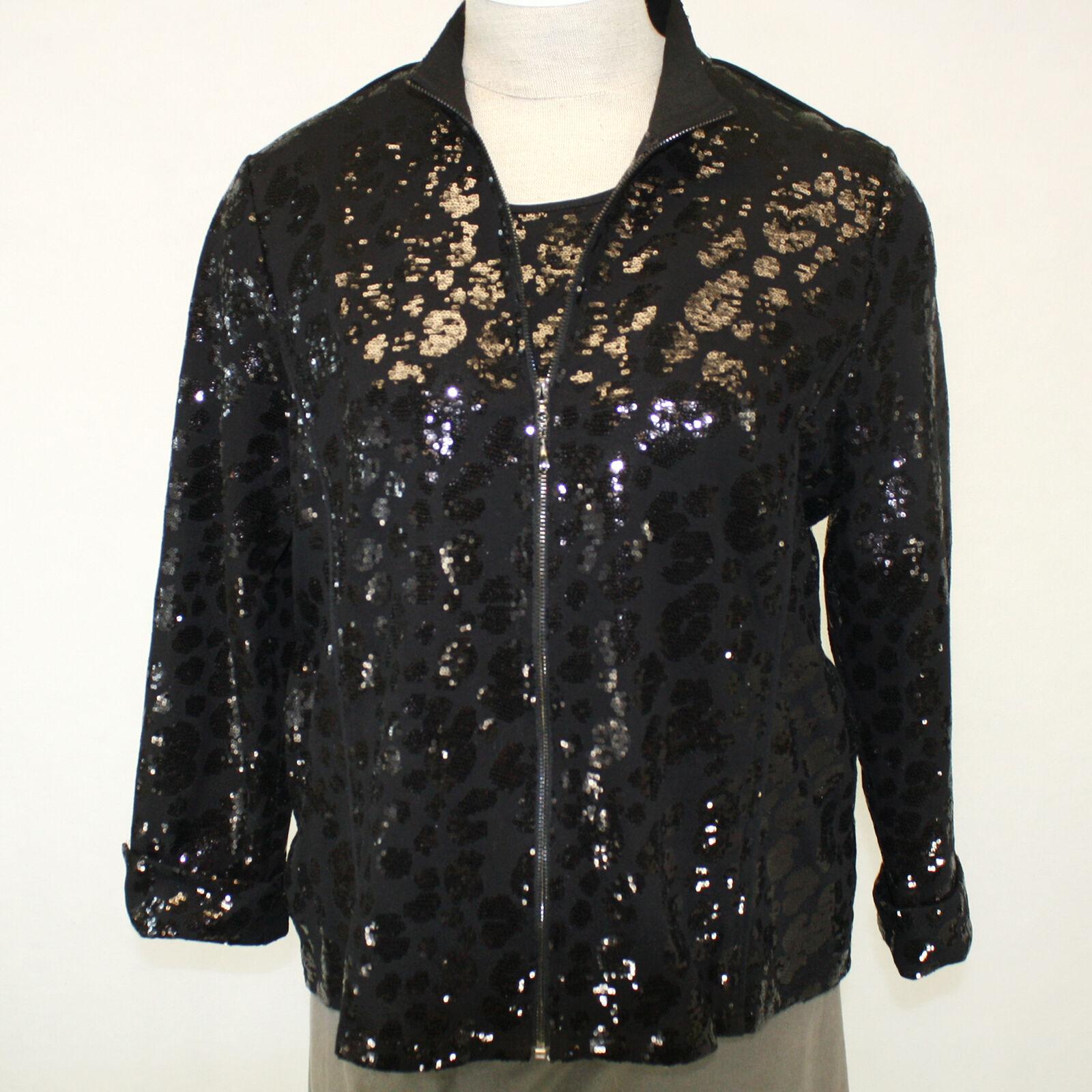 NEW NWT Berek Plus Größe Daytime Shine schwarz Sequin Zip Jacket Blouse Top 2X