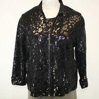 Berek Plus Size Daytime Shine Black Sequin Zip Jacket Blouse Top 2x