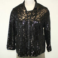 Berek Plus Size Daytime Shine Black Sequin Zip Jacket Blouse Top 2x