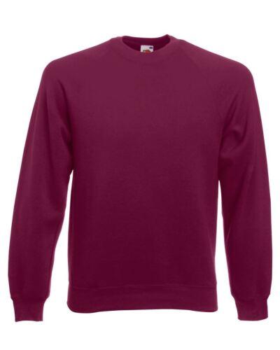 Fruit Of The Loom Mens Sweatshirt Raglan Sweat Pullover Plain Top Jumper Sweater