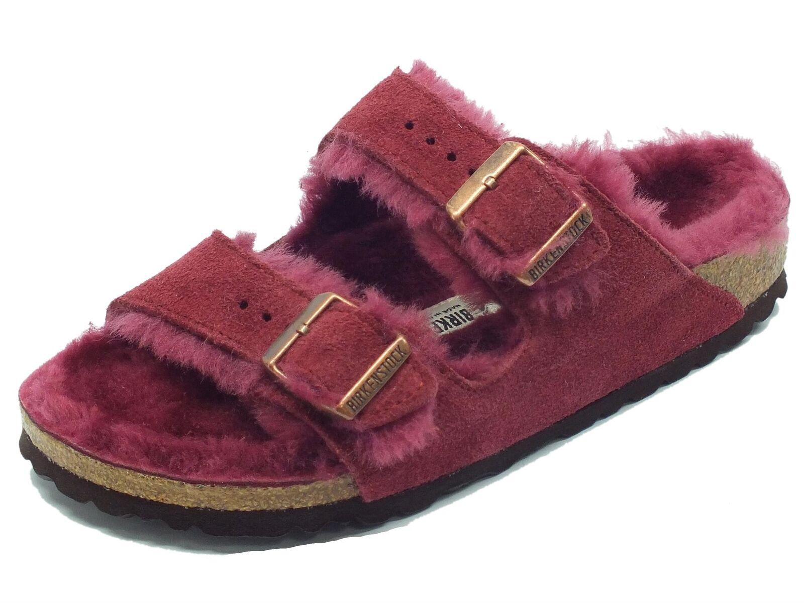 Sandali in Birkenstock Arizona Fur per donna in Sandali camoscio e montone colore bordeaux 8cb942