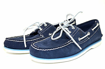 Timberland Icon 2-Eye Boat Deck Navy Blue Suede Shoes 6169A
