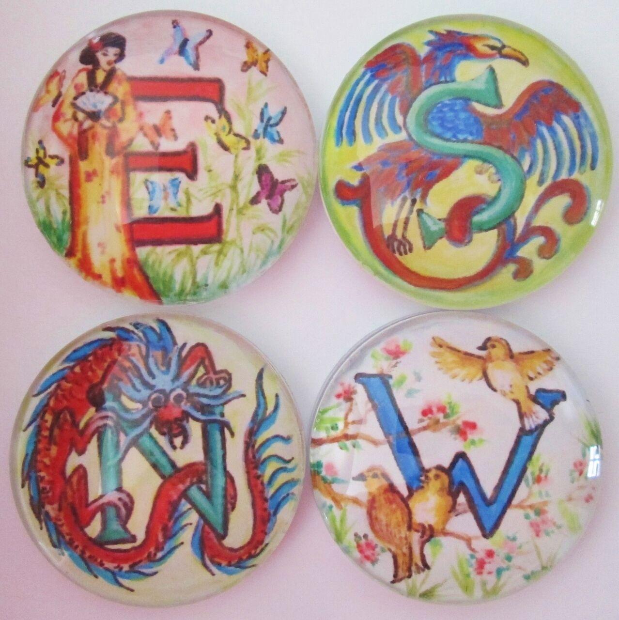 Wind Discs, Directional Indicators, Set of 4, E S W N Mahjong, Mah Jongg