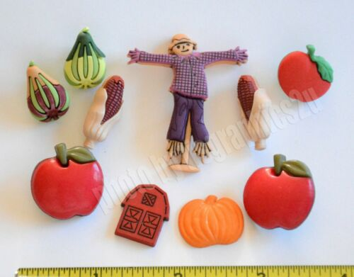 Autumn Harvest Shank Buttons Scarecrow ~ Barn ~ Apple ~ Corn ~ Gourds ~Tomatoe