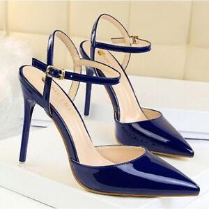 Cm Blu Pelle 5 Donna 10 Simil Eleganti Sandali Lucido Cw682 Stiletto Decolte xqnI0vRwg