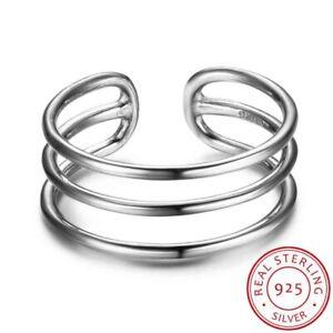 Damen-Ring-Drei-Reihen-echt-Sterling-Silber-925-groessenverstellbar-48-52-schmal