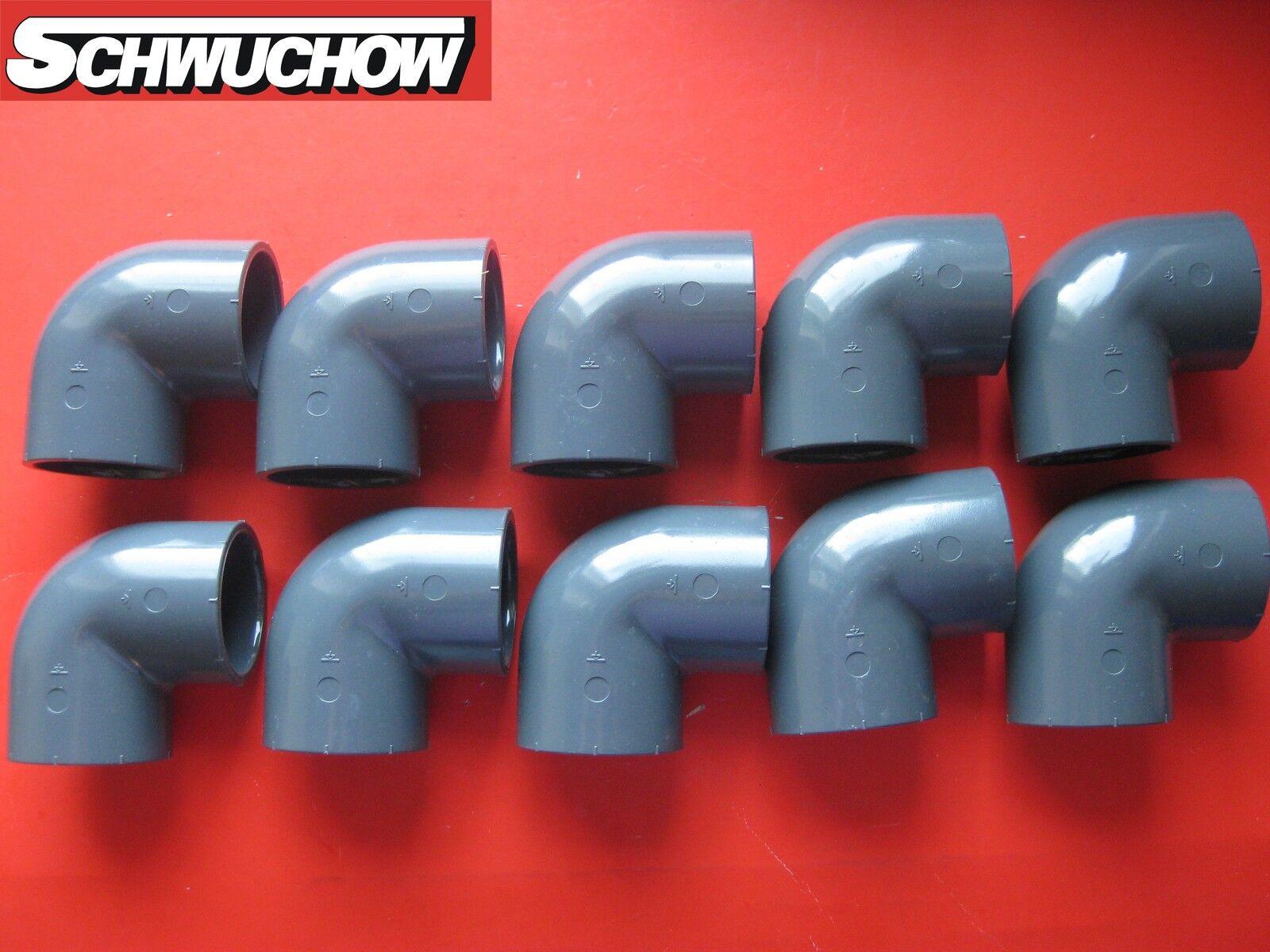 10 ST PVC ANGOLO GOMITO 90° GRADI D 50 mm DN 40 INTERNO interno piscina tubo
