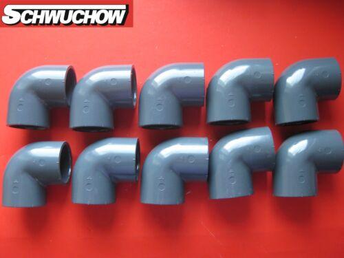 PVC Angolo arco 90 ° grado d 50 mm DN 40 interno//interno PISCINA TUBO ACQUA 10 St