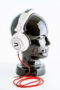 7even-Headphone-white-red-DJ-Sport-Freizeit-Kopfhoerer-mit-Textilkabel