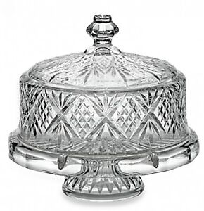 Image is loading Crystal-Cake-Stand-Footed-Cake-Plate-With-Dome-  sc 1 st  eBay & Crystal Cake Stand Footed Cake Plate With Dome Cover Displayware 14 ...