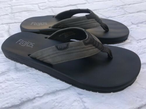 Flojos   Men/'s Size 11 12 or 13  Black Memory Foam Sandals Flip Flops