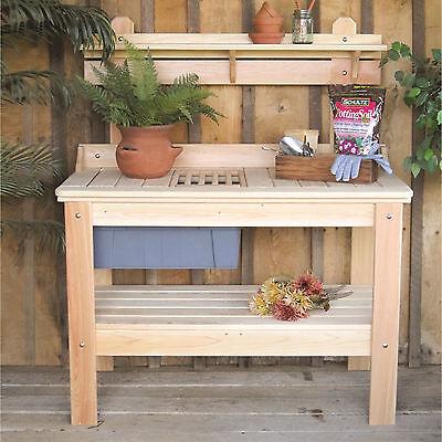 Outdoor Wooden Potting Bench Planting Table Garden Tools Workstation  Storage 5768091346500 | eBay