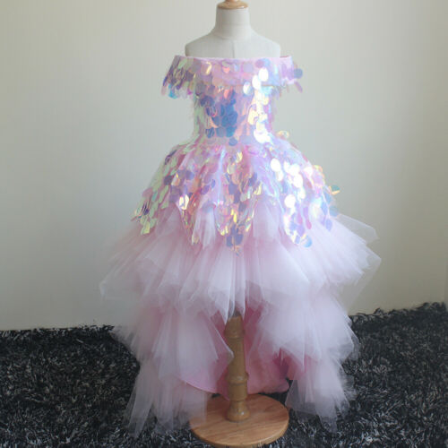 Pink Sequins Kids Flower Girl Dress Wedding Party Holy Communion Prom Pageant UK