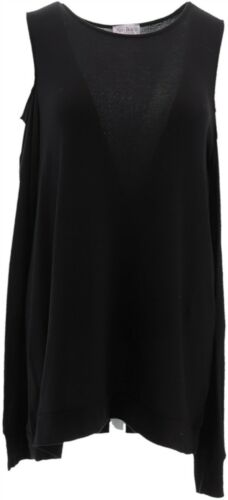 AnyBody Loungewear Brushed Hacci Cold Shoulder ScoopNeck Top Black M NEW A293071
