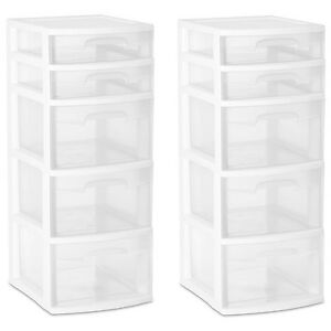 Image Is Loading 5 Drawer Tower Organizer Plastic Storage Cabinet Office