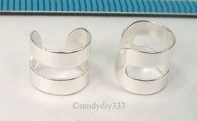 2x 925 STERLING SILVER CLIP-ON ROUND DOUBLE RING WRAPPED EAR CUFF EARRINGS #2486