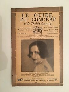 Le Guide du concert et des Théâtre Lyriques Lydia Massikova n°9 1931