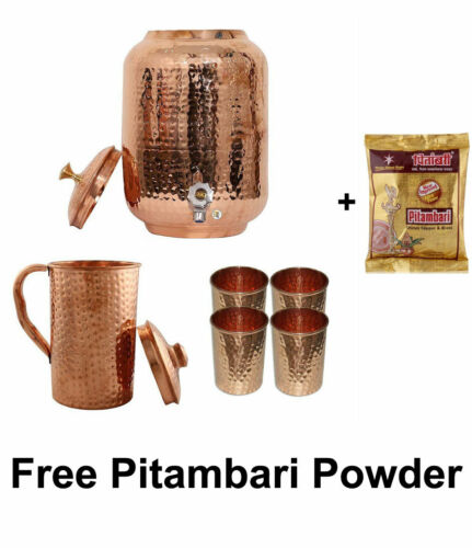 Copper Hammered Water Dispenser Storage Pot 8L Copper Drinking Glass Pitcher Jug