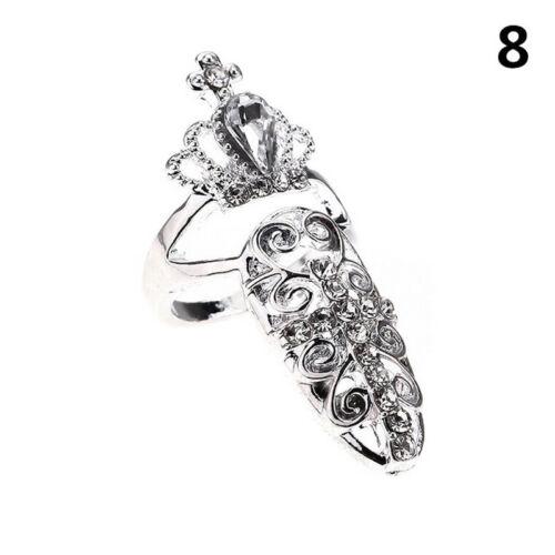 Damen Pretty Bowknot Nail Ring Charm Crown Flower Crystal Finger Nagel Ringe ho