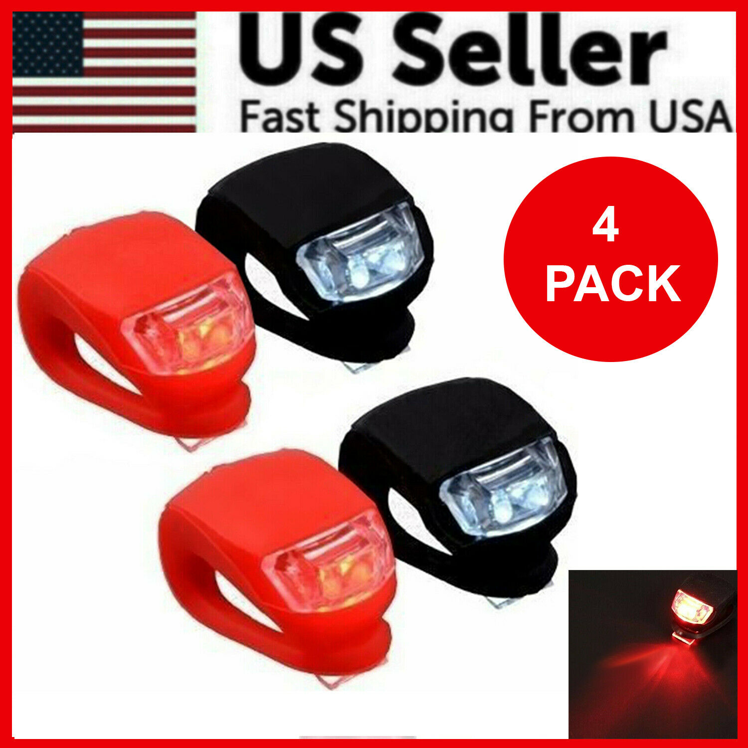 6 Pcs Silicone Bicycle Bike Cycle Safety LED Head Front /& Rear Tail Light Set