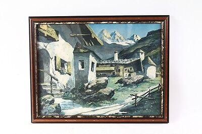 Muebles Antiguos Y Decoración Alert Bonito Antiguo Marco De Madera Para Foto Vidrio Con Imagen Paisaje Montañas