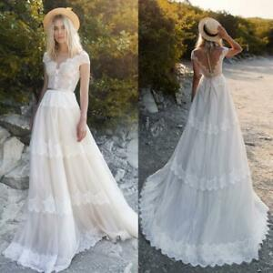Details about Bohemian Wedding Dresses A Line Cap Sleeves Plus Size 0 2 4 6  8 10 12 14 16 18