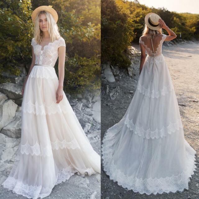 Beach Wedding Dresses Simple Custom Bridal Gowns Plus Size 0 4 6 810 12 14 16 18