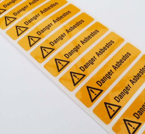 50 x YELLOW DANGER ASBESTOS WARNING SAFETY LABELS 70MM X 15MM NON RIP