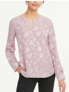 NEW-ANN-TAYLOR-Dusty-Rose-Pink-Long-Sleeve-Classic-Floral-Blouse-Shirt-Top-XL