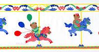 Carousel Girls Balloons Girls Red Blue Cute Horses Vtg Wallpaper Wall Border
