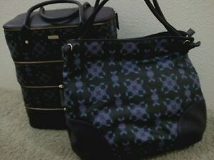 Image Is Loading Bodhi Handbags New Black Purple Coated Linen Leather