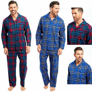 Mens Flannel Pyjamas Set 100/% Brushed Cotton Warm Traditional Check or Striped
