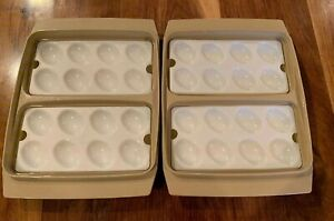 VTG-TUPPERWARE-Set-Of-2-Deviled-Egg-Keeper-Carrier-Trays-Almond-Tan-NO-LID